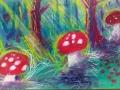 """3-4 klasių gimnazistų iliustracijos """"Minkštučiukai samanų patalai ištiesti"""" pagal Antano Baranausko """"Anykščių šilelį"""""""
