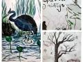 Gimnazistų darbai sumi-e japonų tapybos stiliumi